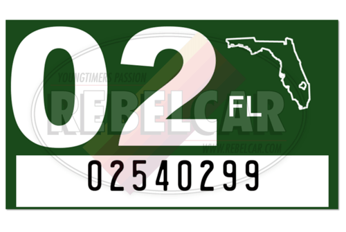 US FLORIDA GREEN plate sticker, WHITE YEAR, size 38.5 x 22 mm