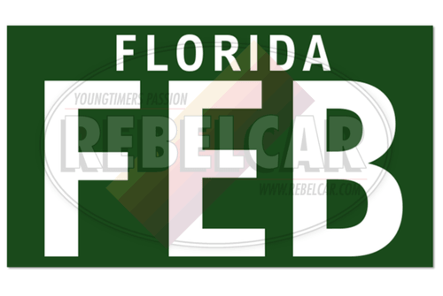 US plate sticker 38,5x22mm FLORIDA GREEN, WHITE MONTH in 3 letters + small text FLORIDA white