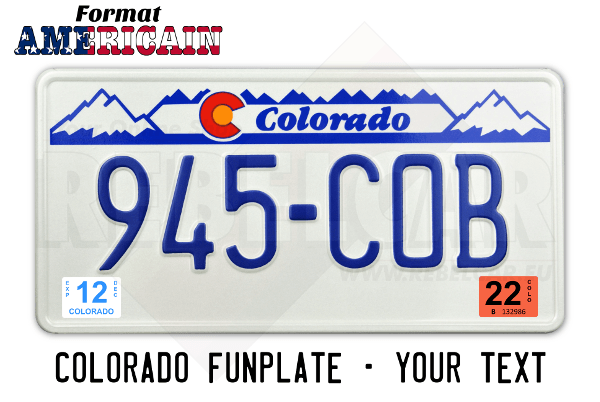 US COLORADO white license plate with blue mountains in top position, Colorado in blue, white border, size 300x150 mm