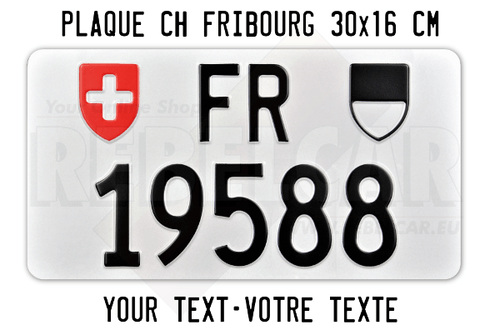Canton of Vaud aluminium license plate ACCURATE SIZE 30x16 cm