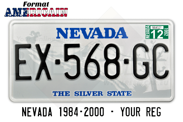 Nevada The Silver State US USA License Plate Number Plate Embossed Custom Border