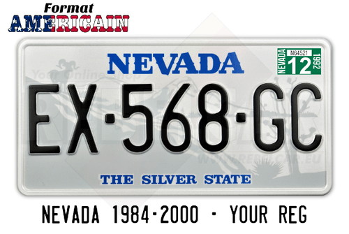 US White NEVADA THE SILVER STATE License Plate with Gray Filigree Decor, White Border, 300x150 mm