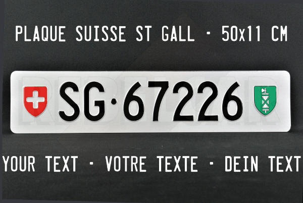 License plate Canton of St Gall ACCURATE size 50x11 cm
