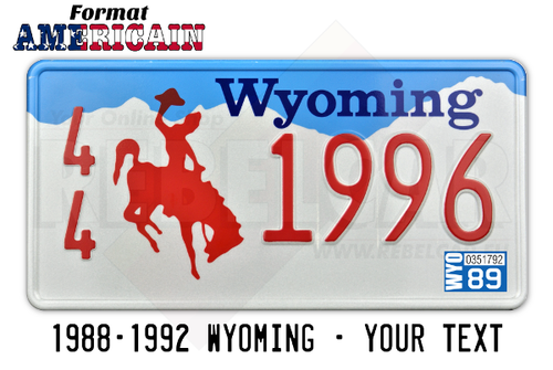 USA Blue and White Wyoming Embroidered License Plate with Red Rider, with White Border Size 300x150 mm