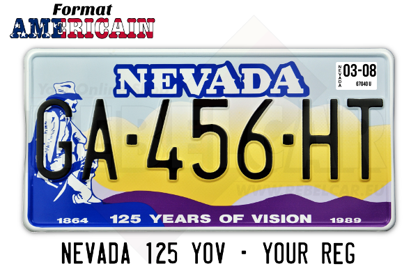 Plaque d'immatriculation US NEVADA 125 years of vision jaune orangé avec pionier américain, bordure blanche, format 300x150 mm