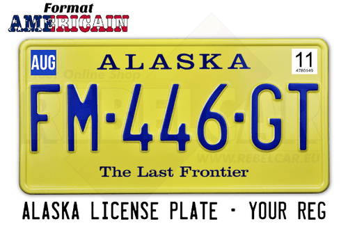 The Last frontier YELLOW Alaska license plate with YELLOW BORDER, size 300x150 mm