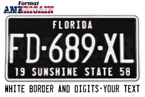 Shiny BLACK 300x150 mm non-reflective license plate with embossed WHITE BORDER and WHITE CUSTOM SLOGAN(S)