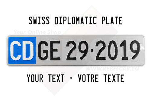SWISS DIPLOMATIC license plate EXACT SIZE 50 x 11 cm - reg. / text of your choice