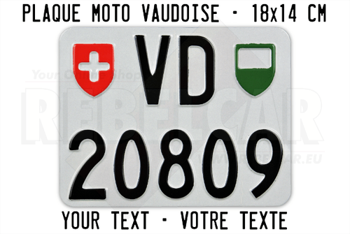 SWISS aluminum Vaud license plate, accurate size 180x140 mm