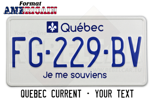 License plate Quebec I remember white retro-reflective with text stickers, white border, format 300x150 mm