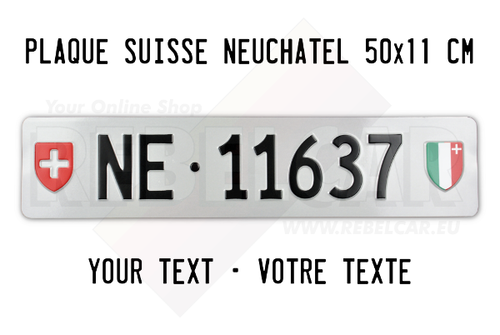 Swiss license plate from Neuchatel Canton ACCURATE size 50x11 cm