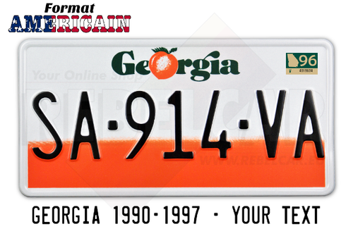 GEORGIA 2/3 white retro-reflective and 1/3 orange license plate, WHITE BORDER, size 300x150 mm