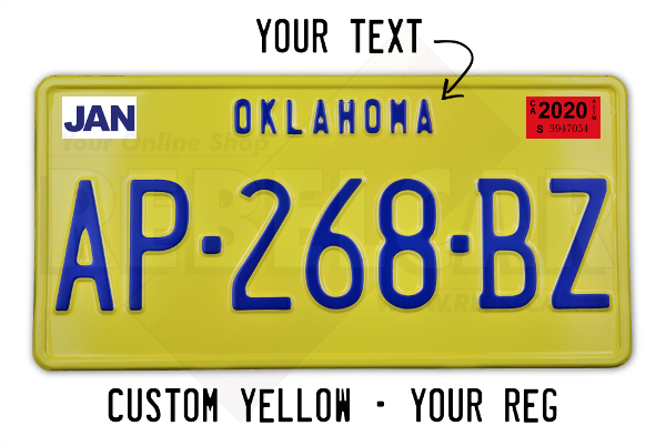 US plate YELLOW aluminum non retroreflective 300x150 mm with YELLOW EDGE and CUSTOM TEXT TOP plate