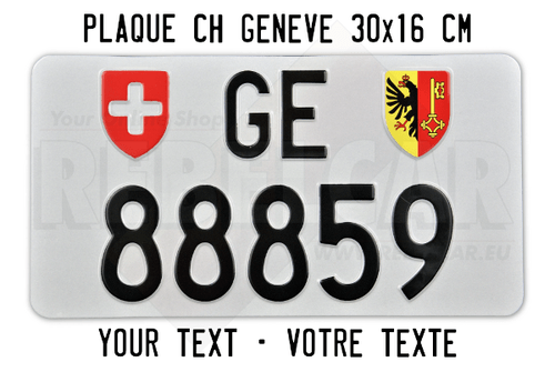 Geneva license plate with accurate size 30x16 cm