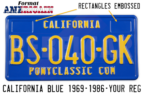License plate USA EMBOSSED CALIFORNIA BLEUE with BLUE border format 300x150 mm (text CALIFORNIA plate top) and 2 RECTANGLES EMBOSSED ON THE TOP