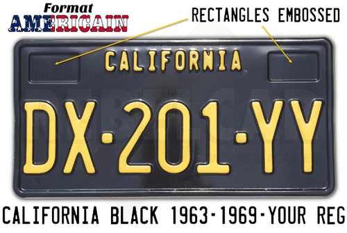 US license plate CALIFORNIA SHINY BLACK non-reflective embossed, with BLACK BORDER, size 300x150 mm (CALIFORNIA text on the top) and 2 rectangles embossed on the top
