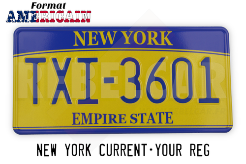 US Yellow-Blue Empire State Retro Retro Reflective License Plate with Yellow / Blue Border Size 305x152 mm