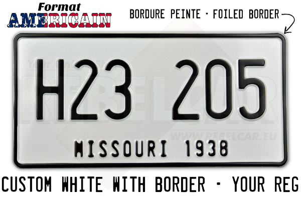 US WHITE retro-reflective aluminum plate 300x150 mm with PAINTED BORDER (same color than the registration) and optional CUSTOM TEXT(S)