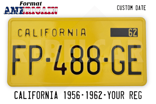 USA California YELLOW registration plate, retro-reflective, text CALIFORNIA stamped on the top left, vignette year, yellow border, size 300x150 mm