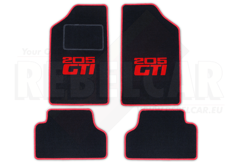 BLACK 205 GTI velvet floor mat set  with RED HORIZONTAL LOGOS (CENTRAL postion), RED BORDER and BLACK PROTECTION HEEL for driver mat
