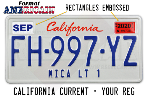 WHITE REFLECTIVE CALIFORNIA plate embossed, with WHITE BORDER, size 300x150 mm (CALIFORNIA text on the top) and 2 RECTANGLES EMBOSSED ON THE TOP