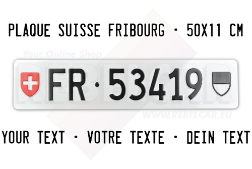 Swiss license plate from Fribourg Canton ACCURATE size 50x11 cm