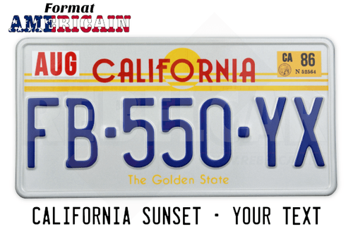 USA California Sunset / The Golden State WHITE RETRO-REFLECTIVE license plate with WHITE BORDER, accurate size 12x6 inches (304,8 x 152,4 mm)