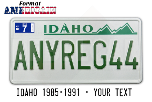 USA Idaho WHITE RETRO-REFLECTIVE license plate with WHITE BORDER, accurate size 12x6 inches (304,8 x 152,4 mm)