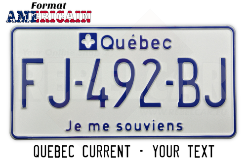 """Retro-reflective white plate Quebec """"I remember"""" format 304x152 mm with PAINTED EDGE, and embossed texts"""