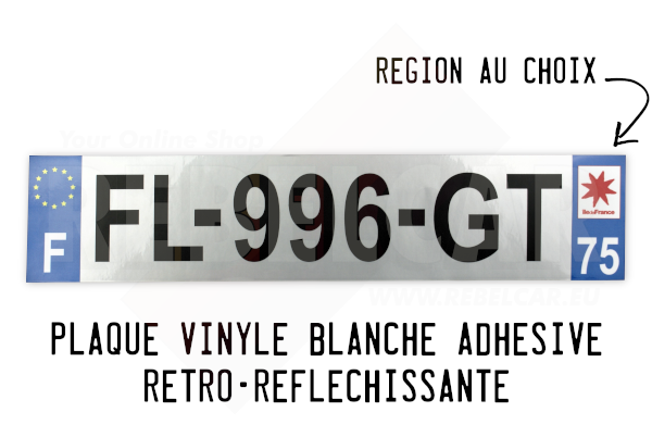 Reflective WHITE VINYL ADHESIVE STICKER 520 x 110 mm french license plate, right angles, with EU F logo and regional logo of your choice