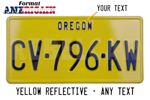 YELLOW REFLECTIVE US plate 300x150 mm with YELLOW BORDER and OPTIONAL CUSTOM TEXT(S)