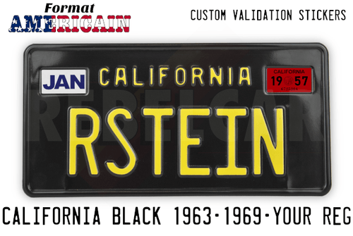 Shiny BLACK 304x152 mm CALIFORNIA license plate with embossed BLACK BORDER and RECTANGLES EMBOSSED (small text CALIFORNIA with 25mm distance)