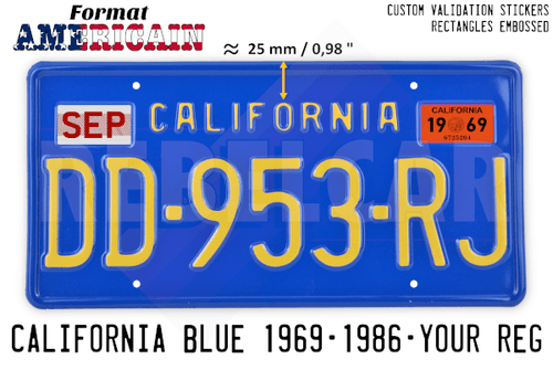 NAVY BLUE 304x152 mm CALIFORNIA license plate with embossed BLUE BORDER and RECTANGLES EMBOSSED (small text CALIFORNIA with 25mm distance)