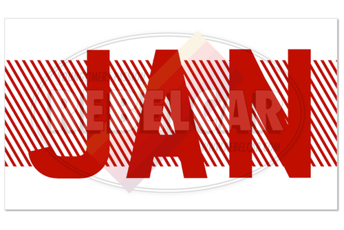 Validation sticker with THREE-RED-LETTERS MONTH on WHITE BACKGROUND with RED DIAGONALES, size 43,5 x 25 mm