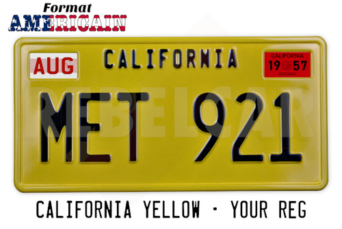 YELLOW REFLECTIVE CALIFORNIA plate embossed, with YELLOW BORDER, size 300x150 mm (CALIFORNIA text on the top) and 2 RECTANGLES EMBOSSED ON THE TOP