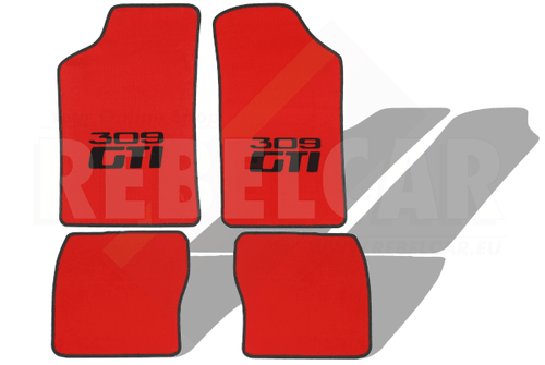 RED VELVET 309 GTI floor mats set with CENTRAL HORIZONTAL BLACK LOGOS and BLACK BORDER