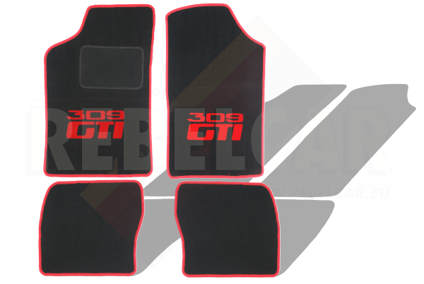 BLACK VELVET 309 GTI floor mats set with RED CENTRAL HORIZONTAL LOGOS and RED BORDER - no heel pad