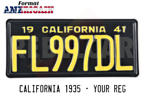 Shiny BLACK 350x156 mm CALIFORNIA license plate with reversely-embossed BLACK BORDER (upper text CALIFORNIA), making time 15 days