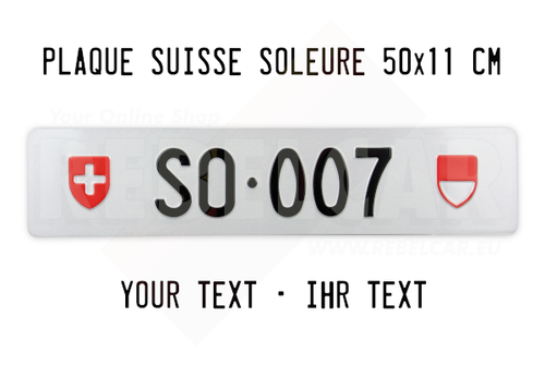 Swiss license plate from Solothurn canton ACCURATE size 50x11 cm