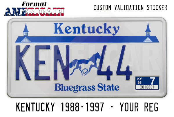 USA Kentucky Bluegrass State WHITE REFLECTIVE license plate with twin spires of Churchill Downs, a mare and foal, WHITE BORDER accurate size 12x6 inches (304,8 x 152,4 mm)