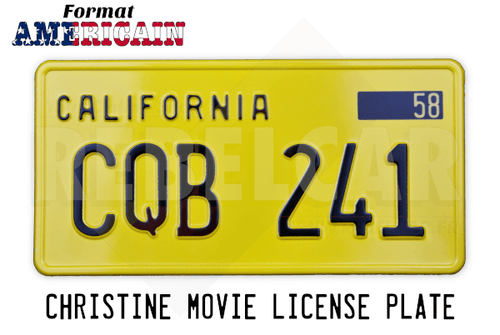 Plaque d'immatriculation CALIFORNIA CQB 241 de la Plymouth Fury du film Christine (John Carpenter, 1983)