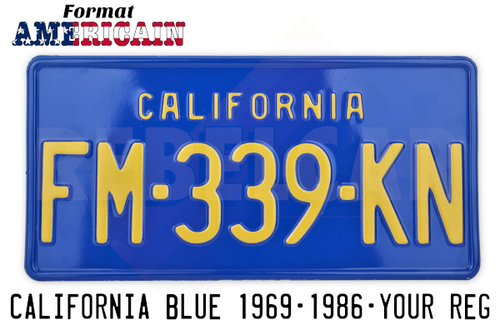 NAVY BLUE 300x150 mm CALIFORNIA license plate with embossed BLUE BORDER (thin text CALIFORNIA with 25mm distance)