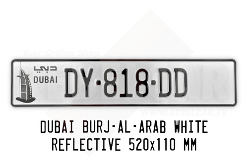 Dubai BURJ-AL-ARAB (sail-shaped hotel) WHITE REFLECTIVE 520x110 mm license plate with PAINTED BORDER (same color than the registration)