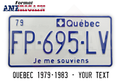 """QUEBEC JE ME SOUVIENS WHITE REFLECTIVE license plate with 2-DIGITS DATE ON THE TOP LEFT CORNER, QUEBEC ON THE TOP RIGHT, COLORED BORDER, size 300x150 mm / 12x6"""""""