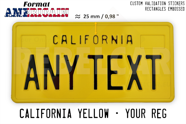 """US CALIFORNIA YELLOW REFLECTIVE license plate with YELLOW BORDER and RECTANGLES EMBOSSED (small text CALIFORNIA with 25mm distance) size 300x150 mm / 12x6"""""""