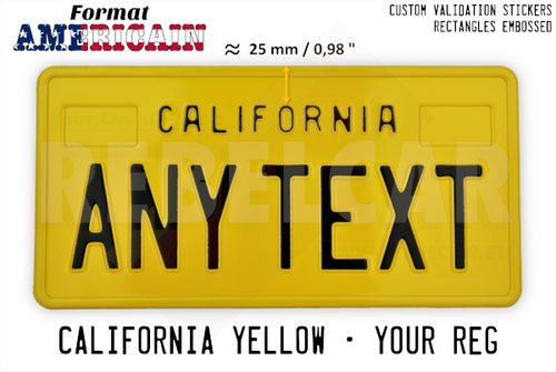 US CALIFORNIA YELLOW REFLECTIVE license plate with YELLOW BORDER and RECTANGLES EMBOSSED (small text CALIFORNIA with 25mm distance) size 300x150 mm / 12x6""