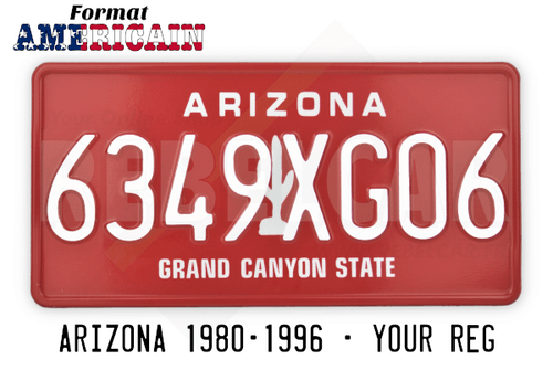 """US ARIZONA GRAND CANYON STATE RED license plate with a white cactus on the middle, RED BORDER, size 300x150 mm / 12x6"""""""
