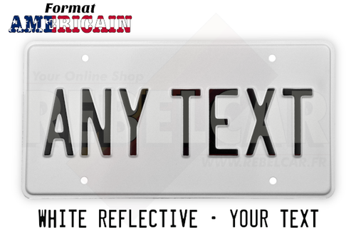 US WHITE REFLECTIVE license plate with COUNTER-EMBOSSED BORDER and 4 factory-drilled diam. 7 mm holes, size 300x150 mm / 12x6""
