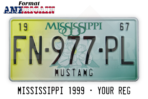 US MISSISSIPPI license plate with yellow to green gradient and central magnolia flower, WHITE BORDER, size 300x150 mm / 12x6""