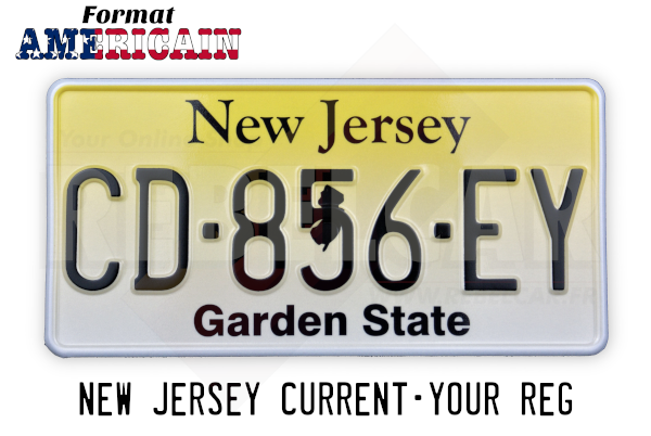 """US NEW JERSEY """"GARDEN STATE"""" YELLOW REFLECTIVE license plate with WHITE BORDER, size 300x150 mm / 12x6"""""""